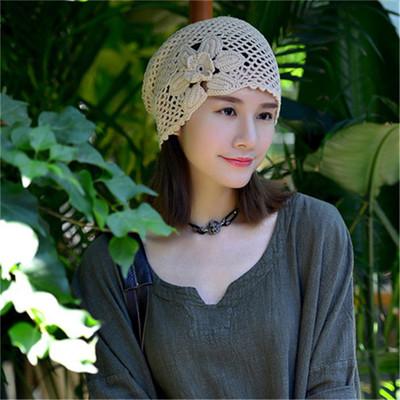 新款手工编织钩针高档纯棉网状勾花女士堆堆渔夫特色文艺帽子