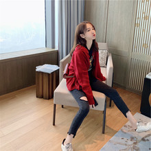 Red sweater jacket women's cardigan in early spring of 2019 new style lazy net red jacket with retro button knitted sweater