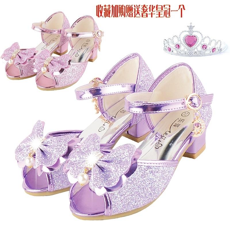 女童凉鞋2017新款韩版夏季公主高跟鞋儿童鱼嘴露趾鞋女孩紫色凉鞋