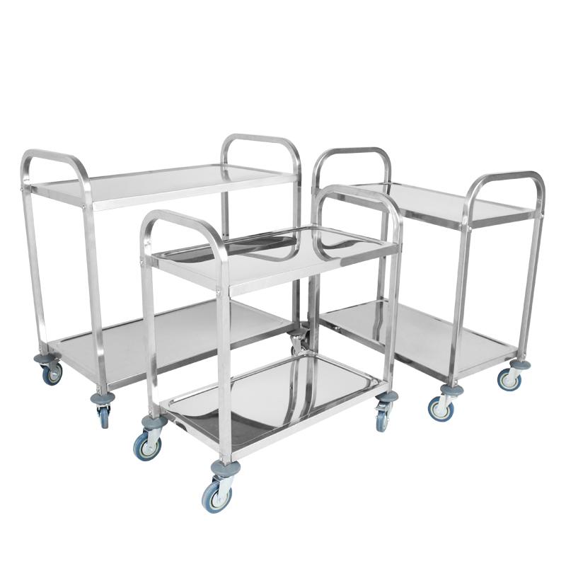 不锈钢二层加厚送餐车手推收碗车火锅店调料置物架酒店服务车包邮