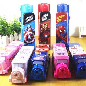 迪士尼火车头文具盒小汽车巴士米老鼠卡通儿童铅笔盒男女孩幼儿园学生KT猫双层多功能铁皮塑料学习用品收纳盒