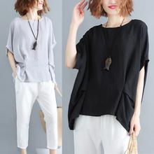 新款 女t恤衫 2018夏装 宽松胖MM遮肉显瘦蝙蝠短袖 上衣棉麻纯色大码