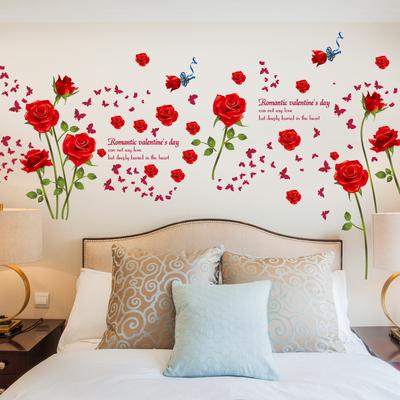 可移除墙贴浪漫蓝色玫瑰花植物花卉贴纸客厅沙发背景浪漫温馨贴画
