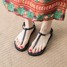 简约学生平跟度假海边沙滩鞋 时尚 凉鞋 罗马鞋 女夏平底柏俅詈版 新款