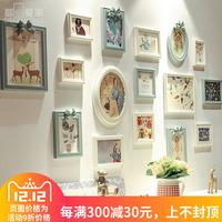 都多爱家欧式客厅照片墙创意复古相框组合餐厅装饰挂墙实木相片墙