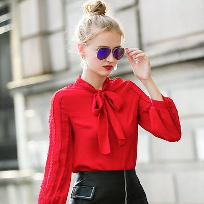2018秋季新款长袖蕾丝拼接上衣百搭显瘦灯笼袖宽松洋气小衫打底衫
