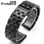 表带钢带男22钢表带不锈钢精钢手表带手表链19 21 23 24 26mm黑色