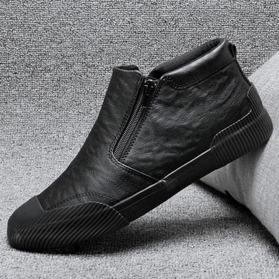 高帮鞋男鞋韩版潮流男士休闲皮鞋一脚蹬懒人百搭英伦棉鞋高邦板鞋