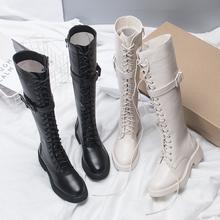 绑带不过膝靴帅气长筒靴骑士靴厚底粗跟长靴 高筒靴女秋冬2019新款图片