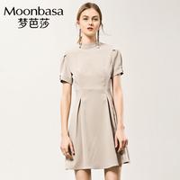 Moonbasa/梦芭莎复古千鸟格后V领露背绑带收腰伞摆连衣裙