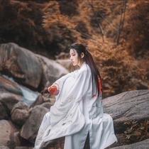 男子古风汉服cosplay古装绣花大袖衫齐腰裙白色仙鹤亚麻交领中衣