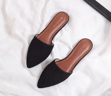 欧美英伦新款包头尖头平底绒面半拖休闲舒适懒人鞋女鞋拖鞋