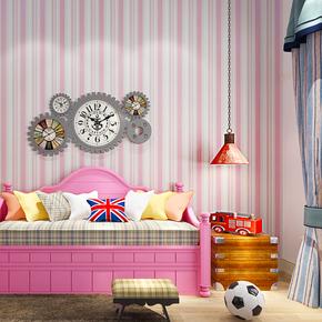 米冠简约竖条纹无纺布壁纸温馨卧室书房男女孩公主儿童房墙纸