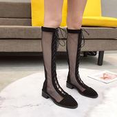 网眼系带长靴军靴凉靴网面镂空高筒靴及膝靴中跟粗跟罗马风凉鞋女