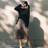 Pregnant women leopard skirts long section suede a word skirt loose autumn and winter clothing