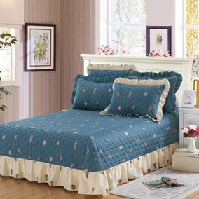 全棉床盖单件三件套绗缝被1.8m纯棉床单夹棉铺盖衍缝2米加大中式