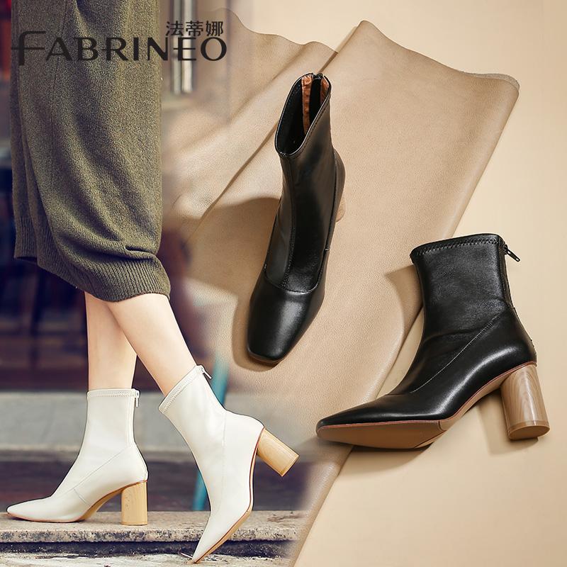 法蒂娜弹力靴女2019秋冬新款女靴欧美粗跟靴子女高跟套脚牛皮短靴
