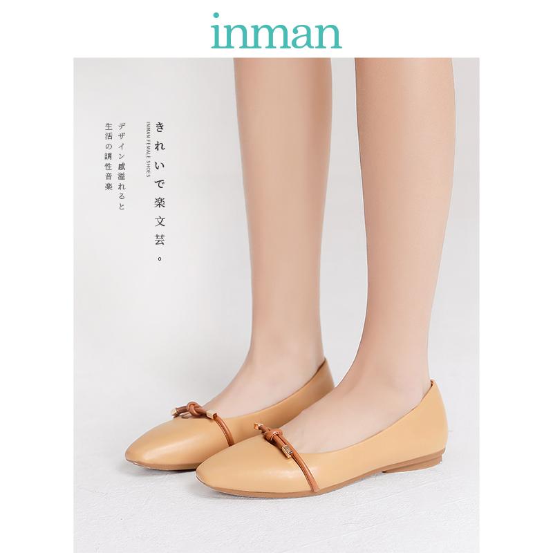 茵曼女鞋2019夏季新款玛丽珍船鞋单鞋仙女鞋温柔平底晚晚鞋小皮鞋