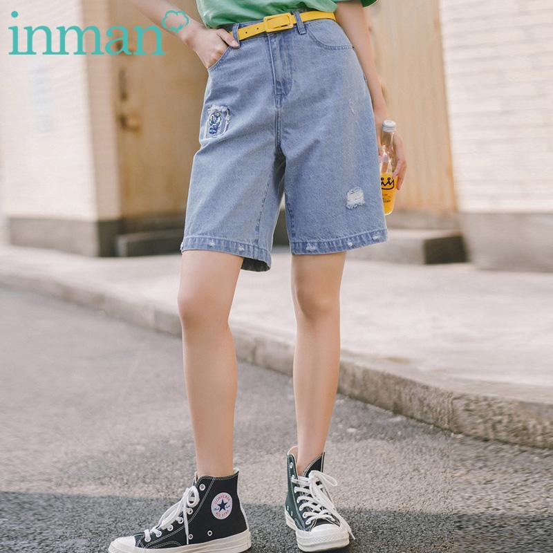 茵曼女士五分裤牛仔裤子宽松阔腿裤短裤外穿薄款2019新款夏季中裤