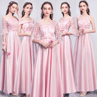 Bridesmaid dress 2019 new gray sister skirt long sleeve annual meeting evening dress long satin graduation dress spring