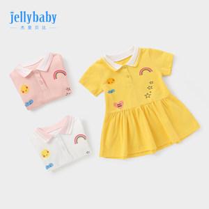 杰里贝比1-3岁女童polo裙婴儿连衣裙儿童裙子短袖公主6女宝宝夏装