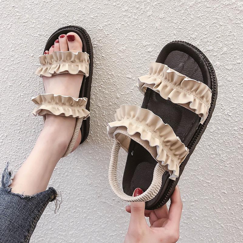 一字带凉鞋女仙女风2019夏季新款平底防水沙滩鞋厚底学生百搭网红