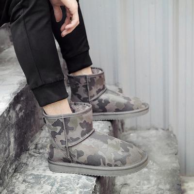 雪地靴男防水防滑情侣款冬季加绒厚保暖棉靴迷彩真皮短筒面包棉鞋