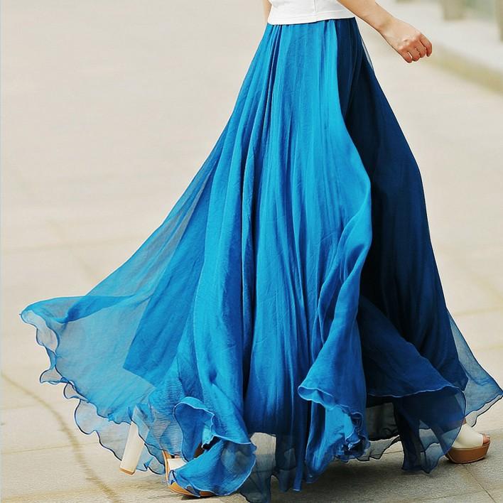 雪纺大摆半身裙纱裙