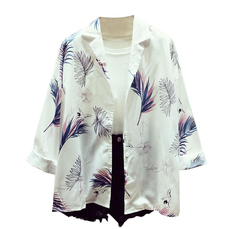 雪纺衬衫2018新款女夏季长袖宽松显瘦复古港风防晒花衬衣韩范上衣
