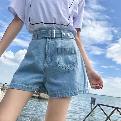 2018夏季新款韩版短裤女配腰带高腰显瘦百搭阔腿牛仔裤学生热裤潮
