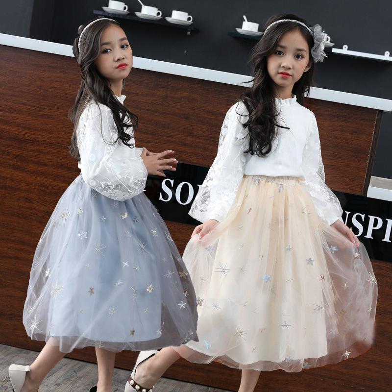 女童半身裙春秋新款韩版中大童网纱蓬蓬裙舞蹈表演百褶裙纱裙长裙