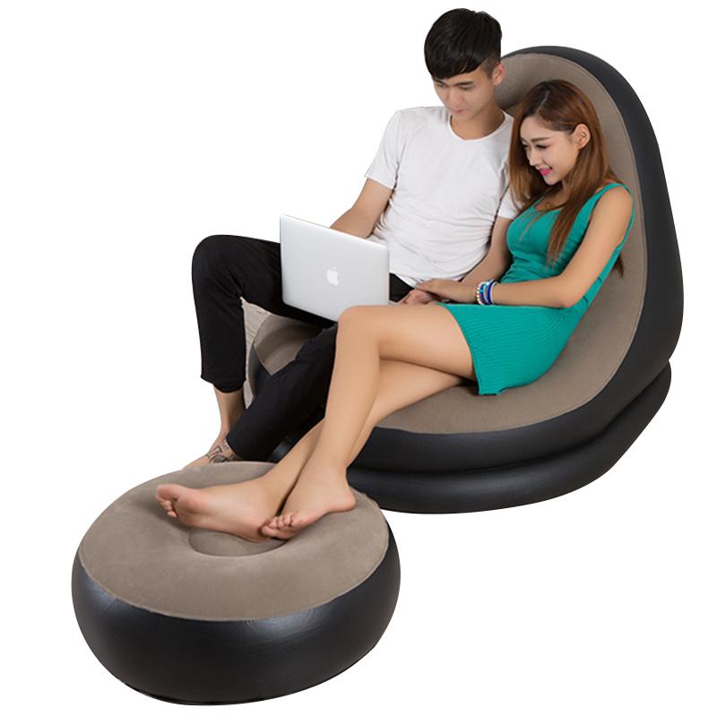 植绒沙发充气懒人沙发椅子躺椅耐寒卧室移动榻榻米户外野营易携带
