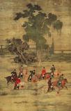 国画古代名画五代赵喦八达游春图69x109高仿真艺术品书房装饰画