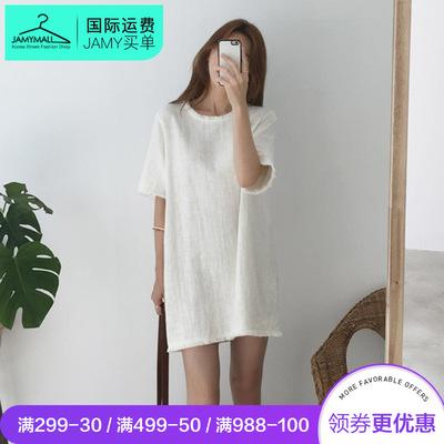 直邮正品thejamy 2018年夏季新款时尚舒适纯色圆领流苏连衣裙