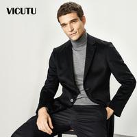 VICUTU/威可多毛呢大衣男中长款修身黑色翻领羊毛大衣外套男