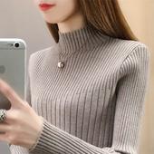 2018半高领修身针织衫毛衣内搭加绒加厚打底衫上衣长袖韩版潮女装