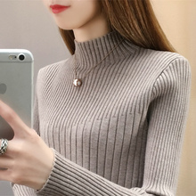 Semi-high collar slim knitted sweater, sweater, underwear, flannel and thicker bottom jacket, long-sleeved Korean fashion dress