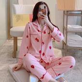 韩版 冬天家居服 卡通学生大码 开衫 草莓睡衣女春秋纯棉长袖 夏季薄款图片