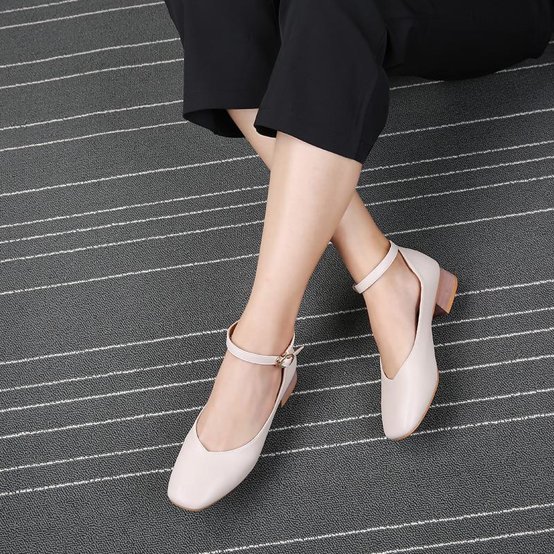 2018夏季新款方头单鞋粗跟女鞋-优惠券80元淘宝包邮