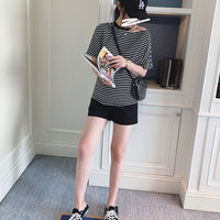 Summer models are thin and wide legs loose high waist stomach lift pregnant women shorts tide mom loose fashion pants