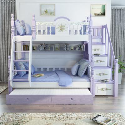 儿童上下床双层床实木多功能全实木高低铺子母床可拆分女孩组合床