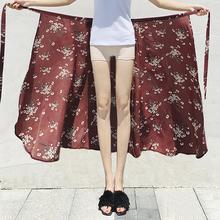 一片式半身裙女夏中长款chic系带高腰裹裙度假沙滩裙雪纺碎花长裙