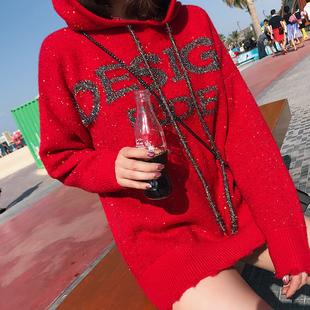 子晴连帽时尚毛衣女潮流新款字母印花亮片中长款宽松红色针织上衣
