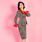 Retro temperament Leopard female presenters dress career suits interview fitted waist coat ladies small fragrant wind skirt