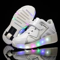 Children's Heelys Shoes High-top Flash Sneakers Children's Shoes Single Wheel Two-wheeled Explosive Shoes White Student Unicycle Shoes