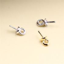 银饰品配件 S925纯银DIY耳环吊坠材料 珍珠粘 托盘扣 半成品