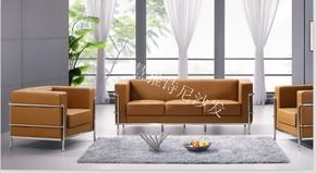 直销办公沙发 三人位皮沙发 会客沙发 组合沙发 不锈钢架沙发BG2