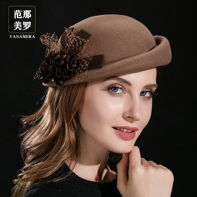 帽子女秋冬季贝雷帽圆顶卷边小礼帽英伦毛呢帽韩版羊毛毡帽空姐帽