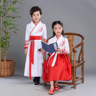 儿童古装改良汉服中国风男女朗诵幼儿园书童三字经演出服国学班服