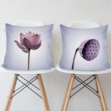 刺线绣3D印花十字绣抱枕一对新款荷花沙发卧室靠垫抱枕套简单新手
